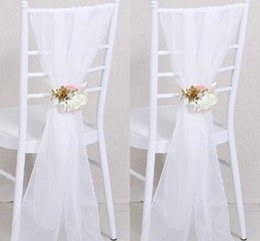 Wholesale Navy Blue Furniture - 2017 Cheap Sample Wedding Chair Sashes White Wedding Chair Ribbon Gauze Back Sash Back Of The Chair Decoration Covers Party Wedding Suppies