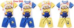 Wholesale Despicable Minions Tshirt - Kids Cartoon 2PCS Outfits Set 100% Cotton Despicable Me Minions Boys Short Tshirt Pants 2PCS Set Children Casual Set Clothes