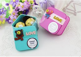 Wholesale Teddy Bear Favor Boxes - Korean Style Cute Lovely TEDDY BEAR Tin Candy Favors Holders wedding gift boxes sweet box baby shower candy boxes 6 color to choose