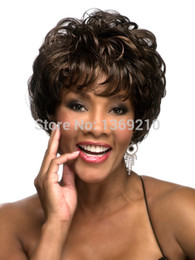 Wholesale Sexy Girls Short Hair - Free Shipping New Stylish Brown Short Curly Lady's Fashion Sexy Party Cosplay Synthetic Hair Wigs About 8 Inches
