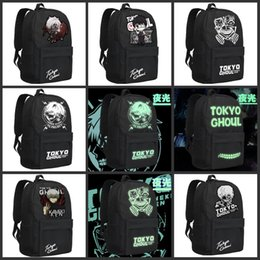 Wholesale Travel Bags For Kids - Luminous Tokyo Ghoul Kaneki Ken Casaul Travel Bags Unisex Canvas Backpacks Double Shoulder Bag School Bags For kid Birthday Christmas Gifts