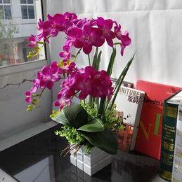 atacado vaso de flores artificiais Desconto Flores artificiais de Flores Atacado-acabadas com vaso e folhas, quatro ramos orquídeas borboleta de seda