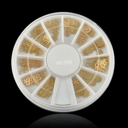 2019 rebanada de caja 360Pcs 3D Noble Gold Mixed Design Metal Glitters Slice Nail Art Beauty Tool Decoración Caso diamantes de imitación para uñas ~ NA033 rebanada de caja baratos