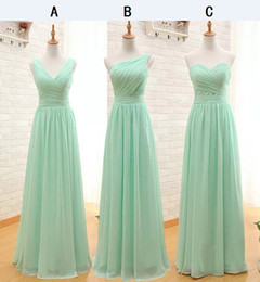 Wholesale Cheap Pretty Wedding Dresses - Pretty Sage One Shoulder Long Bridesmaid Dresses Cheap Pleated Chiffon Sleeveless Floor Length A-line Zipper Wedding Party Girls Dress