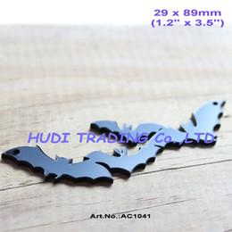 """Wholesale Wholesale Laser Cut Animals - Wholesale- (12 pcs lot) 90mm Black Acrylic Bat Necklace Pendant Laser Cut Halloween Jewelry Supplies 3.5""""-AC1041A"""