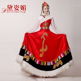 Wholesale Ethnic Skirt Girl - NEW Girls Chinese Minority Folk Ethnic Clothing Tibetan Dresses Dance Costume Women Big Skirt Suit
