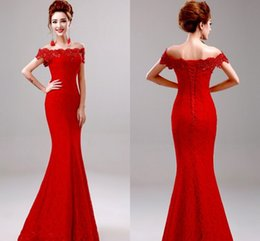 Wholesale Beads Models - In Stock Only 59$ 2017 Cheap Evening Party Dresses Off Shoulder Lace Crystal Beads Mermaid Prom Dresses Formal Gowns