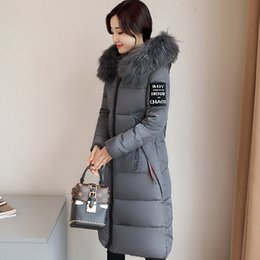 Wholesale Long Goose Coats For Women - Gray Warm Thick Down Coats For Womens Hooded Cotton Wadded Overcoat Big Fur Long Slim Casual Fashion Parkas Plus Size Free Shipping