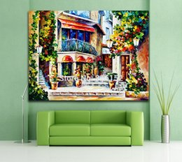 Wholesale Italy Decor - Palette Knife oil Painting France Greece Italy European Cityscape Architecture Picture Printed On Canvas For Home Office Wall Decor