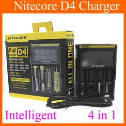 Wholesale Multi Charger Lcd - New Nitecore D4 Chargers LCD Display Universal Digital Multi Function Battery Charger Car Charger High Quality FJ139