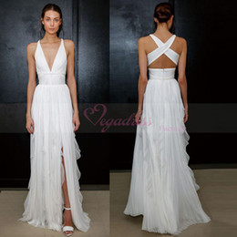 Wholesale Goddess Gowns - 2017 Sheath Wedding Dress for Greek Goddess Simple Brides Wear Sale Cheap Long Pleated Split Full Length Skirt Bohemian Boho Bridal Gowns