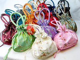 Wholesale Wholesale Party Favor Tote Bags - Unique Large Party Favor Gift Bags Tote Silk Embroidery Drawstring Reusable Storage Pouches size 22x22 cm 50pcs lot mix color Free shipping