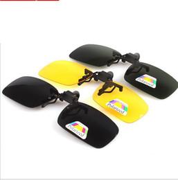 Wholesale clip flip up glasses - Sun Glasses Clip On Sunglasses Driving Night yellow vision Lenses Driving Clip-on Flip-up Lens on Sunglasses Glasses KKA3312