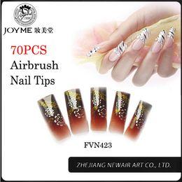 Wholesale Designer Fake Nails - Wholesale-Artificial False Nails 70pcs Fashion Classic Pattern Nail Tips With Glitter French Airbrush Fake Nails Long Designer Finished