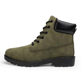 Wholesale motorcycle wear brands - 2017 Men Winter Boots Big Size 36-46 Brand Hot Newest Keep Warm Pu Leather Wear Resisting Casual Shoes Working Fashion Men Boots ArmyGreen