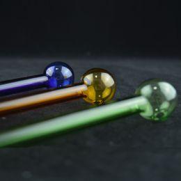 tubo largo verde Rebajas Amarillo, verde azul recto Mini tubos de mano Tubos de la cáscara de fumar transparentes largos tubos de vidrio fino para fumar tabaco 6 pulgadas 20pcs / lot