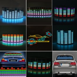 Wholesale Led Sheet Car - Colourful Flash Car Sticker Music Rhythm LED EL Sheet Light Lamp Sound Music Activated Equalizer