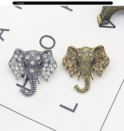 Wholesale Elephant Pins - Classic Elephant Alloy Brooch Women Brooch With Rhinestone Vintage Style Animal Elephant Personality Collar Pin 5*3.5CM
