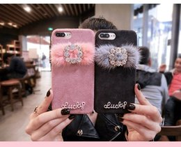 Wholesale Fox Furry - for iphone 6 6s 7 8 plus X Korea Fashion Luxury Cute Diamond bling Fox fur furry fiber soft phone case cover