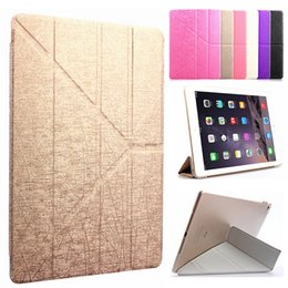 Wholesale Transformer Case Ipad Air - New Folding Stand Transformers Flip Silk leather Case Magnetic Smart Cover with Automatic Sleep & Wake-up for iPad Mini 1 2 3 4 5 6 Air Air2