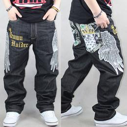 Wholesale Hip Hop Pants For Boys - Wholesale-New designer jeans baggy loose hip hop pants for boy and man fashion rap jeans hiphop black trousers