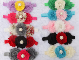 Wholesale Shabby Flower Crystal - Hot sales pearl crystal overlap Three Shabby Flowers Baby hair band Chiffon rose flowers Flower stretch Hair band 200pcs lot