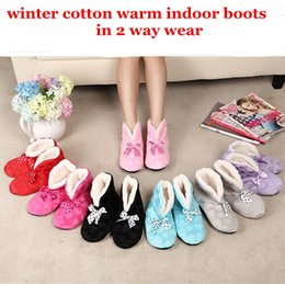 Wholesale One Size Slippers - Wholesale- Free Shipping New Lovely Home Plush Slippers TWO way Wear Shoes,Heart Bow Indoor Slippers Winter Foot Warmer one size fits most