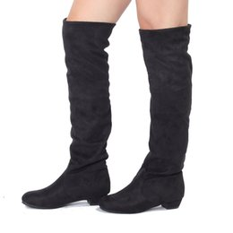 Wholesale Womens Sexy Warm Winter Boots - New Sexy Womens Boots Fashion Autumn Winter Spring Women Warm Leg Boot Shoe Ladies Over Knee Flat Heel Suede Non-Slip Shoes
