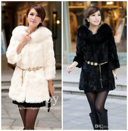 Wholesale Slim Rhinestone Belt - New Womens Long Faux Fox Fur Winter Coat Rabbit Fur Long Sleeve Body slim Warm Outerwear Jacket include Rhinestone Belt Free Shipping WT137