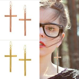 Wholesale Goth Cuff Earrings - 12PairsX Goth Punk Rock Long Skinny Cross Crucifix Ear Cuff Stud Earrings Crosses