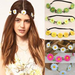 conjuntos de jóias safira azul escuro Desconto Grinalda de cabelo das mulheres com 5 flores de crisântemo de simulação 10 cores elástica headband cocar de festa headwear-0080