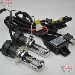 Wholesale Bixenon Lamps - 2pcs pair lot HID Xenon dc H4 bixenon bi-xenon flexible high low lamps 6K with H4 cable h4-3 bixenon replacement bulb 6000k 8000k 10000k