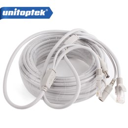 Wholesale Power Cable Network - 10m 20m 30m 40m Ethernet Cable RJ45 + DC Power CAT5 CAT-5e CCTV Network Cable Lan Cable For IP Camera NVR System Color Gray