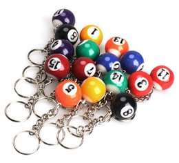 Wholesale Pool Car - Mini 25mm Ball Pool Billiards Key Chain Snooker Table Ball Keychain Resin Key Ring ChainBest Gift Pendant Gift D278L