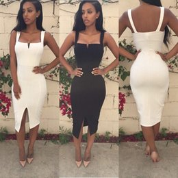 Wholesale Mid Wholesale Bodycon Dresses - Women Sexy Club Dress Summer 2016 Dresses Bandage Bodycon Party Split Womens Dresses Hotsale