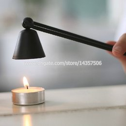 Wholesale Hurricane Activity - Vintage Wrought Iron Long Handle Candle Snuffer Swivel Bell Shaped Put Out Extinguish Candle Tool Black Silver Brown