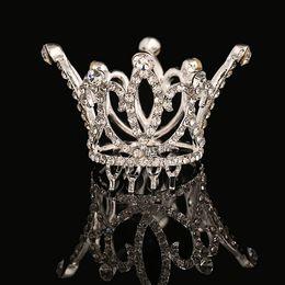 Wholesale Kids Rhinestone Tiaras - Cute Mini Circle Round Crystals Hair Crown Kids Bridal Princess Designs Wedding Hair Crown Tiaras