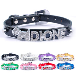 Wholesale Leather Diamond Dog Collars - (8 Colors Mixed) Metallic Personalized Rhinestone Dog Collar Diamond Bucklet XS S M L 10mm letter(Price not including letters)