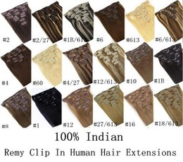 "Wholesale Clip Hair Light Brown - 16"" 18"" 20"" 22"" 24"" 26"" full head Clip in Remy Hair Extensions BLACK, Dark Light BROWN Bleach BLONDE 70g   100g   160g"