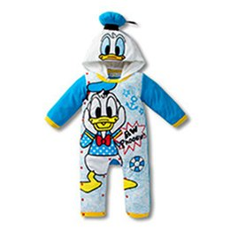 Wholesale Donald Duck Rompers - 90pcs  lot 2015 baby boys girls Cartoon mickey donald duck long sleeve spring autumn cotton hooded rompers for children