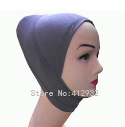 Wholesale Hijab Inner Wholesale - Wholesale-Islamic underscarf qualified soft cotton headband inner hijab chemo bonnet colors mix order 50PCS Lot Free Shipping 160301B6