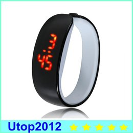 Wholesale Irregular Bangle - LED Plastic Candy Bracelet Watches Easy To Wear Bangle Wristwatches Bracelet Watch With Digital Disply Touch Screen For Man Women