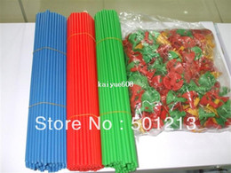 plastic balloons stick Coupons - Free shipping 100 Sets  lot 30cm cartoon latex Balloon Stick Pole Colorful Sticks