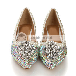 Wholesale Wedding Ivory Silver Shoes Crystal - 2015 New Rhinestone Crystal Imitation Pearl Pointed Toe Wedding Dancing Prom Women Shoes Flats Silver Patent Leather Multi-color LSDN-1103