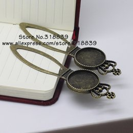 Wholesale Wholesale Blank Bookmarks - 8 pieces lot Antique Bronze Alloy Cameo Imperial Crown Bookmarks 20mm Round Cabochon Settings Jewelry Blank Charms 7549