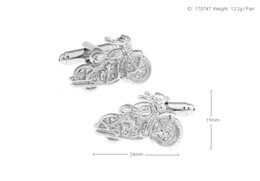 Wholesale Motorcycle Cleaner - High Quality New Classic Silver Copper Mens Wedding Cufflinks Novelty Rare Fancy Motorcycle & Clean Cloth 170747