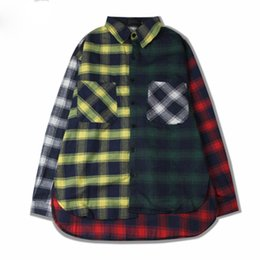 18b6a9f1fce8e dressing long coat mens UK - Mens Casual Shirts Color Block Patchwork Plaid  Long Sleeve Shirts