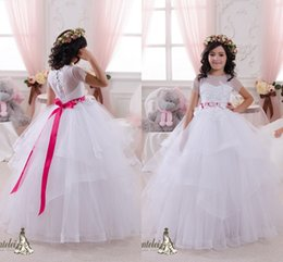 Wholesale Girl Fluffy Sleeve - Gorgeous Fluffy Ball Gown Flower Girl Dresses for Wedding 2016 Cheap Sheer Crew Neck with Short Sleeves Organza Sash Girls Pageant Dresses