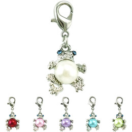 Wholesale Frog Floats - Wholesale Fashion Floating Lobster Clasp Charms Pearl Frog Animal Pendants DIY Charms For Jewelry Making Accessories