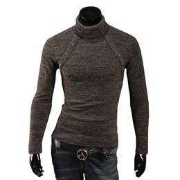 Wholesale Gray Mens Turtleneck - S5Q Mens Casual Slim Sweater Fit Pullover Cardigan Coat Turtleneck Knitwear Tops AAAEKZ